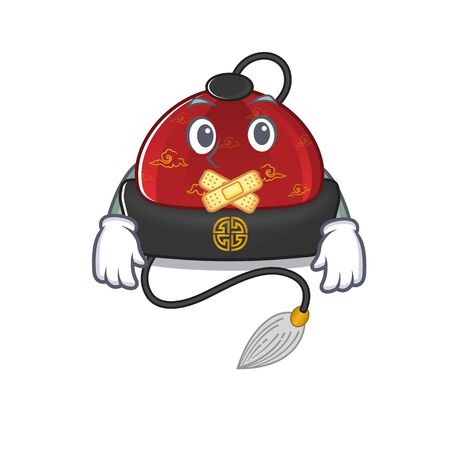 Traditional chinese hat mascot cartoon character style making silent gesture