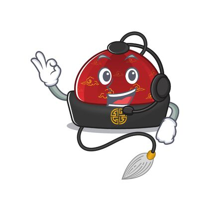 Traditional chinese hat cute cartoon character design with headphone Ilustração