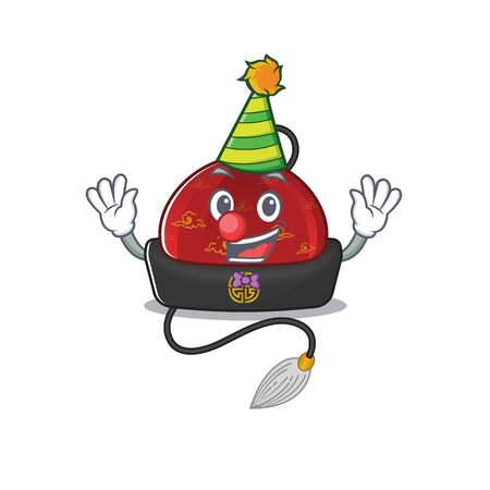 Cute Clown traditional chinese hat placed on cartoon character mascot design