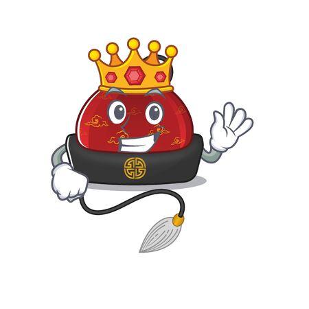 King traditional chinese hat on cartoon character mascot design Ilustração
