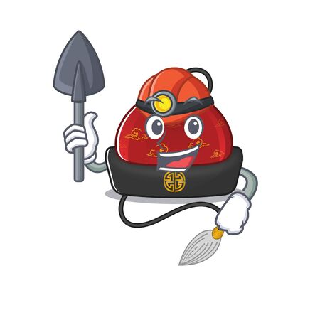 Cool Miner traditional chinese hat of cartoon mascot style