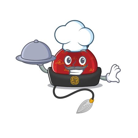 smiling traditional chinese hat as a Chef with food cartoon style design