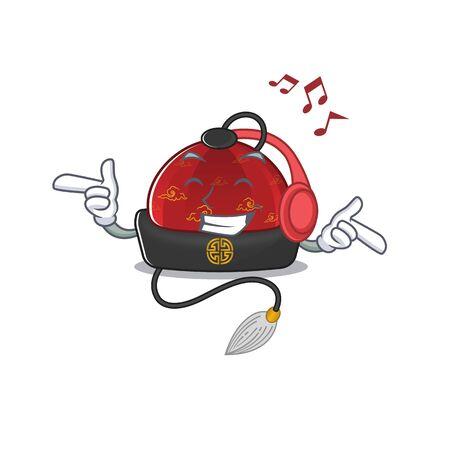 Listening music traditional chinese hat mascot cartoon character design