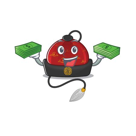 Confident smiley traditional chinese hat character with money bag. Vector illustration