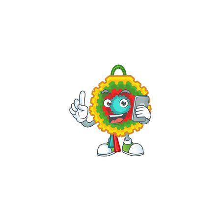 a cartoon style of pinata speaking on the phone. Vector illustration