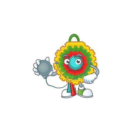 Pinata cartoon mascot style in a Doctor costume with tools. Vector illustration Ilustração
