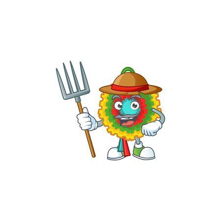 Farmer pinata cartoon character with hat and tools. Vector illustration