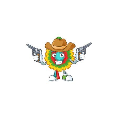 Pinata cartoon character as a Cowboy holding guns Vector Illustration