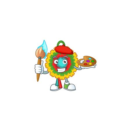 Cheerful pinata painter cartoon character with brush. Vector illustration Ilustração
