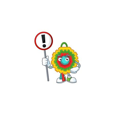 Cartoon style of pinata with sign in his hand. Vector illustration Ilustração