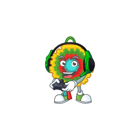 Gamer pinata cartoon character with headphone and controller. Vector illustration