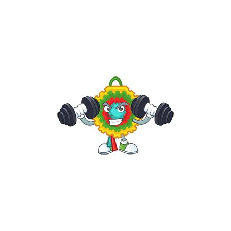 Fitness exercise pinata cartoon character holding barbells. Vector illustration