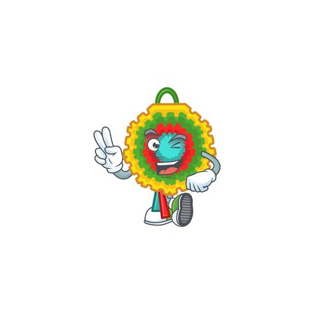 Pinata Character cartoon style with two fingers. Vector illustration