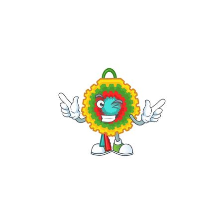 Funny pinata cartoon character style with Wink eye. Vector illustration