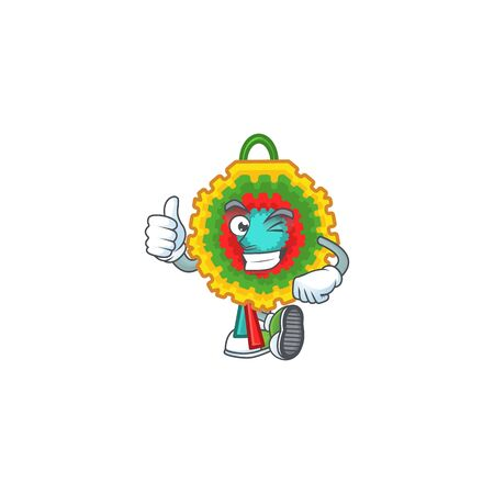 Picture of pinata making Thumbs up gesture. Vector illustration