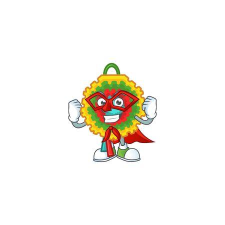 A cartoon of pinata wearing costume of Super hero Ilustração