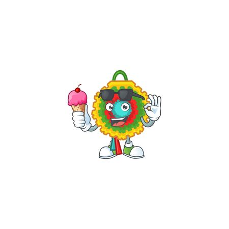Mascot character featuring pinata with ice cream. Vector illustration