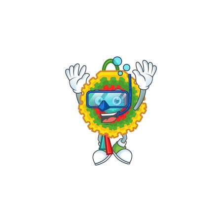 Smiling pinata cartoon character style wearing Diving glasses. Vector illustration