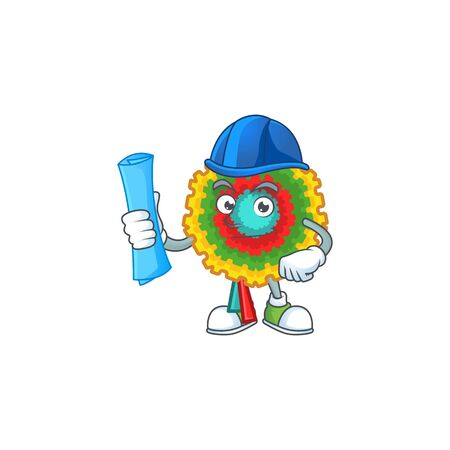 Cheerful Architect pinata cartoon style holding blue prints. Vector illustration