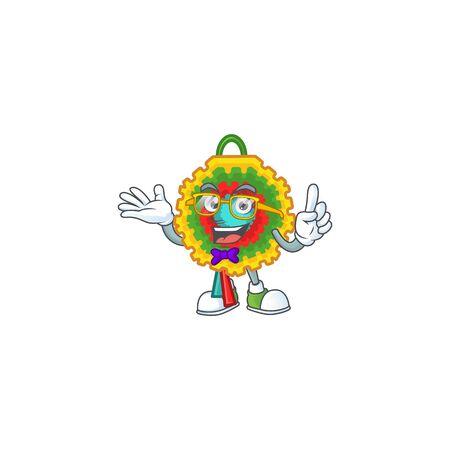 Super Funny Geek smart pinata mascot cartoon style. Vector illustration