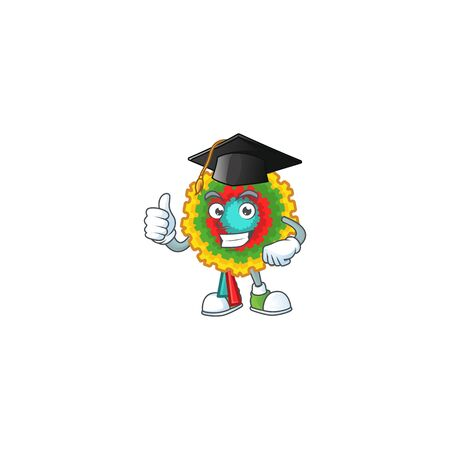 Happy pinata wearing a black Graduation hat. Vector illustration Ilustração