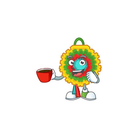 Sweet pinata cartoon character with a cup of coffee. Vector illustration