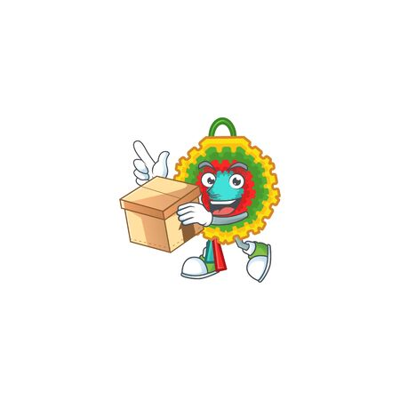 With box Super Funny pinata cartoon character style. Vector illustration Ilustração