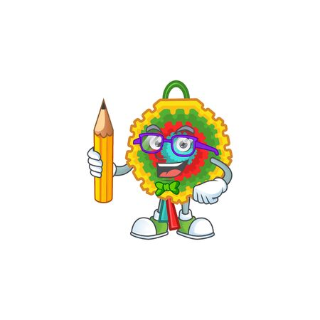 Cool smart Student pinata character holding pencil. Vector illustration