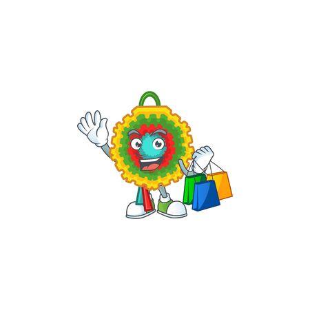 Cheerful pinata cartoon character waving and holding Shopping bags. Vector illustration Illusztráció