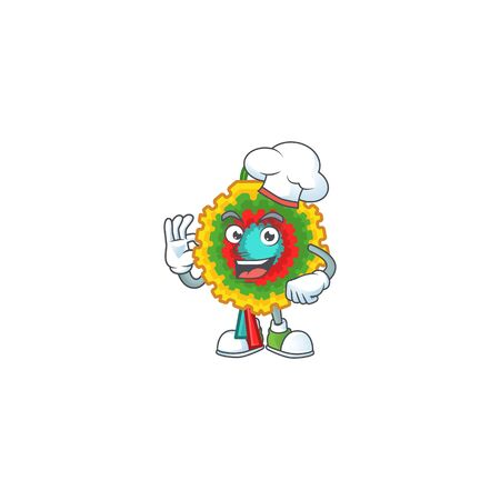 Happy Chef pinata cartoon character with white hat. Vector illustration