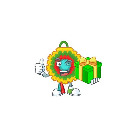cartoon character of happy pinata with gift box. Vector illustration Ilustração