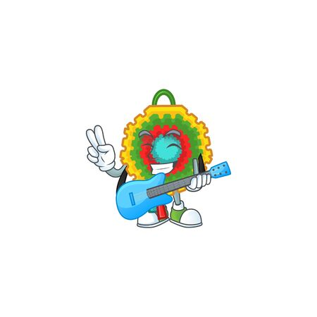 Super cool pinata cartoon character performance with guitar. Vector illustration