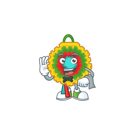 Pinata Character on A stylized Waiter look. Vector illustration