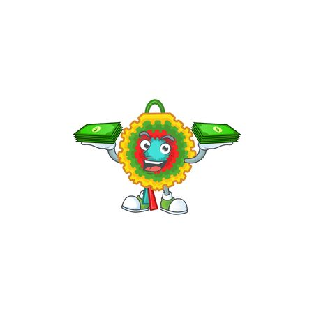Confident smiley pinata character with money on hand. Vector illustration Ilustração
