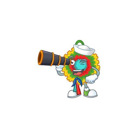 Smiling happy Sailor with binocular pinata cartoon design. Vector illustration Stock Illustratie
