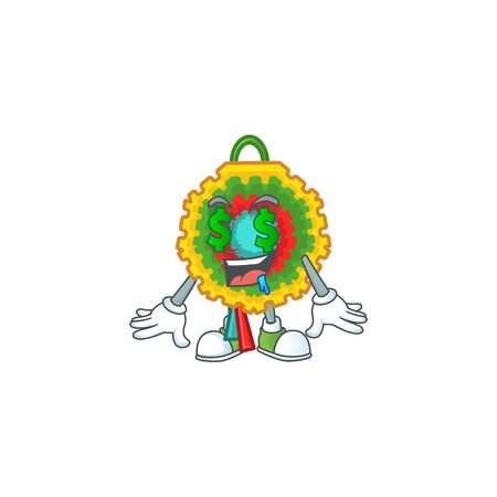 Pinata with Money eye cartoon character design. Vector illustration Vectores
