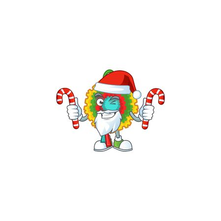 Pinata Cartoon character in Santa with candy. Vector illustration Ilustração