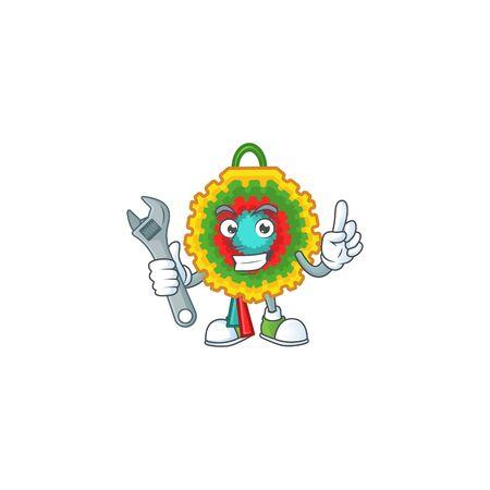 Professional Mechanic pinata mascot cartoon character style. Vector illustration