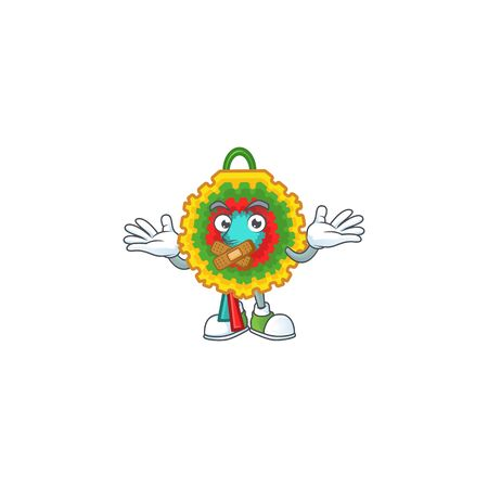 Pinata mascot cartoon character style making silent gesture