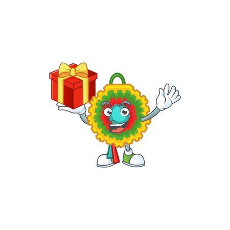 Mascot of pinata character up a gift. Vector illustration