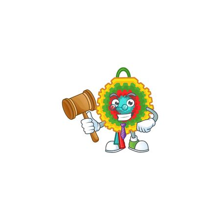 Smart judge pinata presented in cartoon character style. Vector illustration