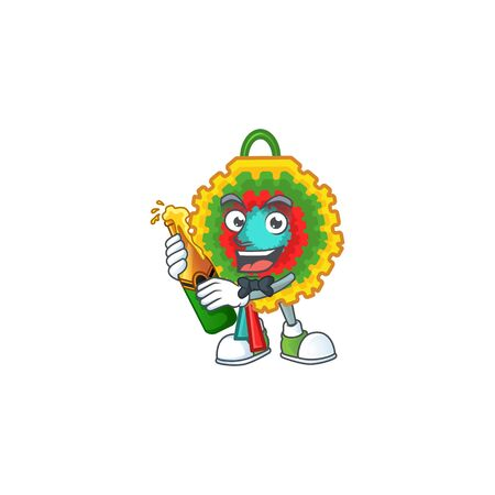 Cool pinata with beer mascot cartoon style. Vector illustration