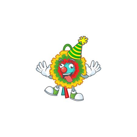 Cute Clown pinata placed on cartoon character style design. Vector illustration Ilustração