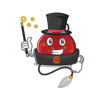 Cartoon character design of traditional chinese hat Magician style. Vector illustration