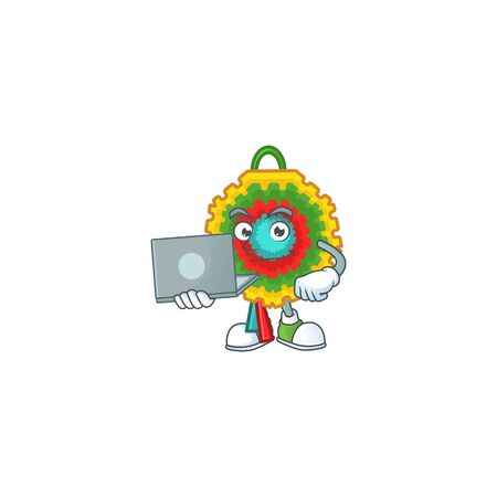 Happy smiling pinata cartoon character working with laptop. Vector illustration
