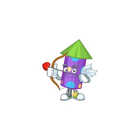 Cute dot fireworks rocket Cupid cartoon character with arrow and wings. Vector illustration