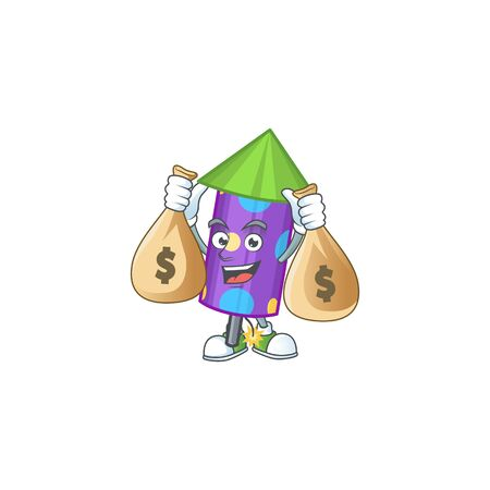 Cute dot fireworks rocket cartoon character smiley with money bag Ilustracja