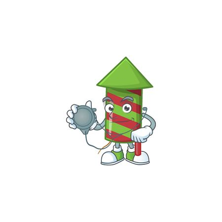 Green stripes fireworks rocket cartoon mascot style in a Doctor costume with tools. Vector illustration