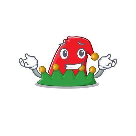 Super Cool Grinning elf hat mascot cartoon style. Vector illustration