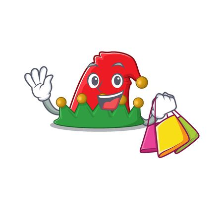 Cheerful elf hat cartoon character waving and holding Shopping bag. Vector illustration Illusztráció